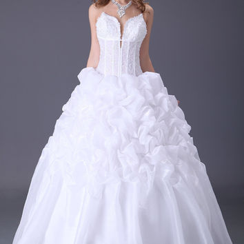 White Deep V-Neck  Beaded Ruched Ruffled Bridal Dress