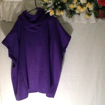 One Size Oversized Hoodie / Purple  Fleece Tunic  /  Fall Upcycled Clothing /  Warm Hoodie / Recycled Clothing /  By Tattered FX