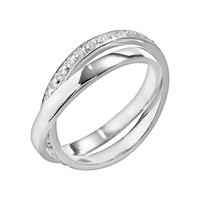 Silver Plated Cubic Zirconia Crisscross Ring (Brass/White/Silver)