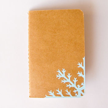 Handpainted notebook, snowflake decorated journal, Christmas gift idea, winter gift, recipes book, school notebook