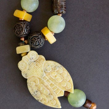 Large Carved Cicada Necklace w Vintage Green Amethysts, Yellow Jade, and Carved Brown Agate Asian Gemstone Jewelry