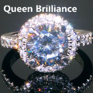 Queen Brilliance Luxury 3 carat round brilliant cut NSCD Simulated Diamond Halo Engagement Ring