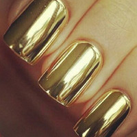 24K  Metallic Gold Nails by PrettyGirlNailSwag on Etsy