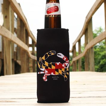 Maryland Full Flag Crab (Black) / Stadium Koozie