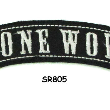 Lone Wolf White on Black Small Rocker Iron on Patches for Biker Vest and Jacket