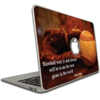 Macbook Air or Macbook Pro Skin (13 inch) Vinyl, Removable Skin - Baseball Babe Ruth Quote