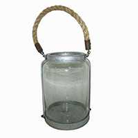 HomeView Design Natural Finished Clear Glass Candle Jar Holder with Rope Handle, 9.7""