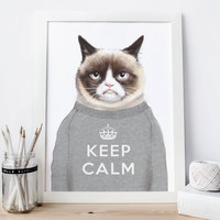 Grumpy cat print, geek poster funny prints, funny gifts, funny poster, cool gifts, cool posters, cool prints, creative gifts, funny wall art