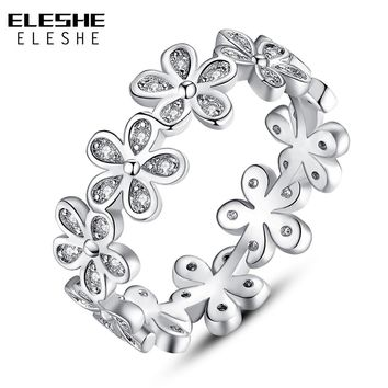 ELESHE 2018 Fashion 925 Silver Flowers Finger Rings Dazzling Clear CZ Daisy Meadow Stackable Ring For Women Wedding Jewelry