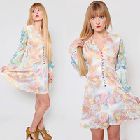 Vintage 70s PASTEL Floral Mini Dress Long Sleeve BABYDOLL Dress Baby Blue Floral Hippie Dress