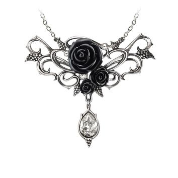 Alchemy Gothic Bacchanal Black Rose Pendant Necklace w/ Teardrop