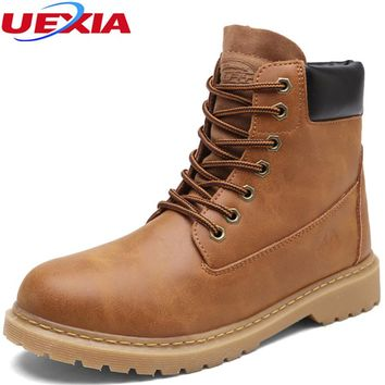 UEXIA Men Boots High Quality PU Leather Wear Unisex Resisting Casual Shoes Men Working Fashion Boot Zapatillas Deportivas Hombre