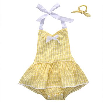 Cute Baby Girl Romper 2017 Summer Sleeveless Skirted Rompers Jumpsuit Bebes Girls Outfit Sunsuit