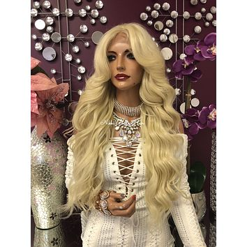 """Blonde 13x4 Multi Parting Swiss Lace Front Wig 