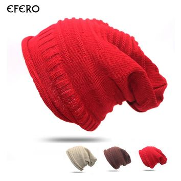 efero 1pcs Unisex Baggy Beanie Winter Warm Hats Slouchy Crochet Knitted Cap for Women Men Girl's Hat Cap Bonnet Femme Gorros