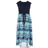 Xtraordinary 7-16 Maxi Print Dress - Navy/Teal