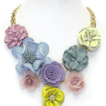 Multi Fabric Corsage Deco Bib Necklace