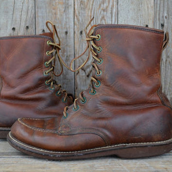 Vintage 1950's Gold Bond American Work Wear Moc Toe Leather Cork Cushion Sole Work Boots, size 8