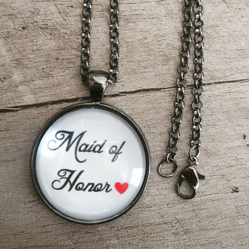 maid of honor gift wedding necklace