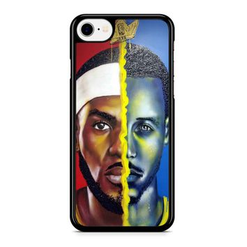 Lebron James Vs Steph Curry Painting iPhone 8 Case