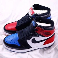 Nike Air Jordan 1 Retro High OG Fashion Casual Running Sneakers Sport Shoes Blue+Red G