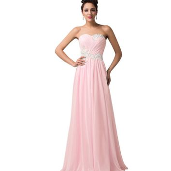 Light Pastel Pink Long Strapless Women's Formal Dress - Bridesmaids - Prom - Party