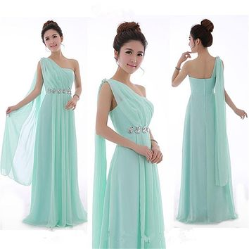 Long Mint Green Bridesmaid Dress One Shoulder High Quality Chiffon Party Dresses Light Yellow Bridesmaid Dresses Under $50