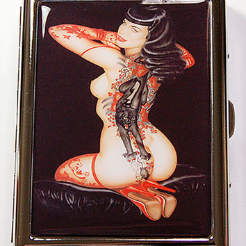 Metal cigarette case, Tattoo Woman, Cigarette Case, Case for Smokes, Cigarette box, Gift for him, Nude Woman, Tattoos, Black (4994)