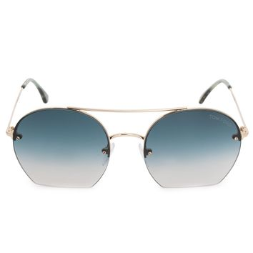 Tom Ford Antonia Aviator Sunglasses FT0506 28W 55 | Rose Gold Frames | Blue Gradient Lenses