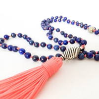 Long Beaded Necklace Tassel Boho Jewelry Tassel Necklace - Mala Necklace 108 Mala Prayer Beads - Blue Lapis Lazuli