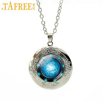 TAFREE Moon light locket pendant dress Accessories galaxy moon surface universe space necklace out of space perfume jewelry N878