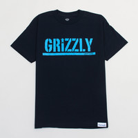Grizzly Neon Stamp Tee in Navy