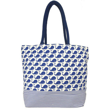 Land Sea Sue Cotton Tote Bag - 17-in (Blue Whales)