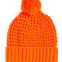 BRIGHT ORANGE WAFFLE KNIT BEANIE - Hats - Shoes and Accessories - TOPMAN USA