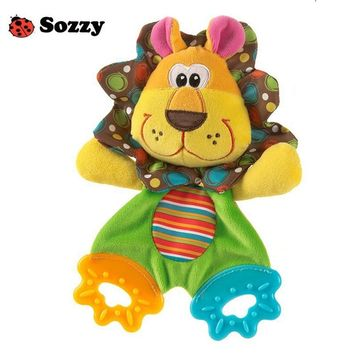 SOZZY Baby Teether Towel Infant Plush Comfort Sound Paper Soft Appease Stuffed Toy Lovely Cartoon Animal Shape Teethers