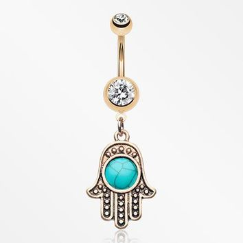Rose Gold Vintage Turquoise Hamsa Belly Button Ring