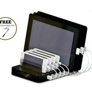 Cyanics Universal Multi Device 7 Port Desktop Organizer, Charger, Charging Station for Smartphone, iPhone, iPad, Samsung Galaxy, LG, Tablet PC and more