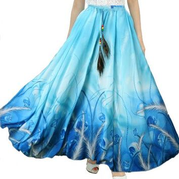 2017 New Fashion Summer Women Full Skirt Real Peacock Feather Elastic Waist Expansion Bottom Printed Long Chiffon Skirt
