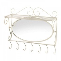 Seven Hooked Mirrored Wall Shelf