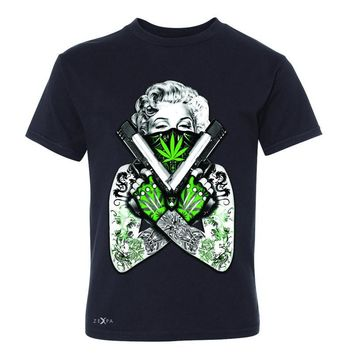 Zexpa Apparel™ Marilyn Monroe Weed Bandana Youth T-shirt American Beauty Guns Tee