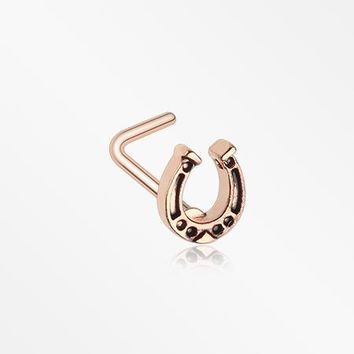 Rose Gold Lucky Horseshoe L-Shaped Nose Ring