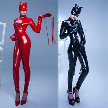 Women's Black catsuit cat hood costume catwoman fancy dress shiny pvc latex rubber mask P867 = 1929854468