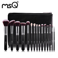 MSQ 15pcs Professional Makeup Brushes Set Make Up Brushes High Quality Synthetic Hair With PU Leather Case For Beauty