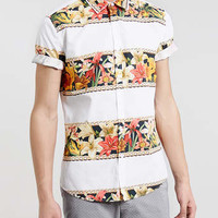 White floral print short sleeve shirt - Men's Shirts - Clothing