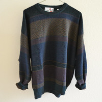 Pattern Striped Grandpa Sweater Vintage Oversized 90s XXL