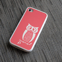 Coral and White Owl Custom iPhone 4 or 4s Silicone Cases