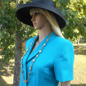 Teal-Blue, 80s Vintage, Button Front, Fully Lined, Tailored Look, Short Sleeve, Suit Dress With Darts, Front Pockets & Back Slit - Size 6