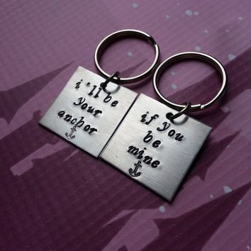 I'll be your anchor key chains - his and hers keychain set - military wife set in aluminum, anniversary, navy