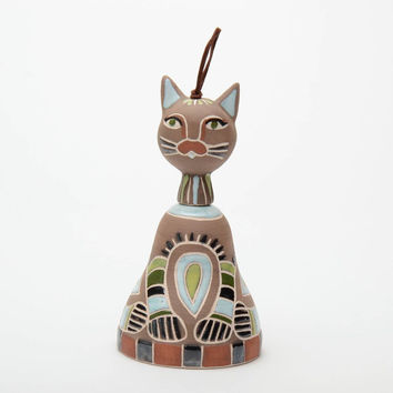 Ceramic handmade bell figurine for home decor Cat  clay decorative elements