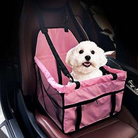 HIPPIH Collapsible Pet Booster Car Seat - Two Support Bars, Portable Small Dog Cat Car Carrier with Safety Leash and Zipper Storage Pocket